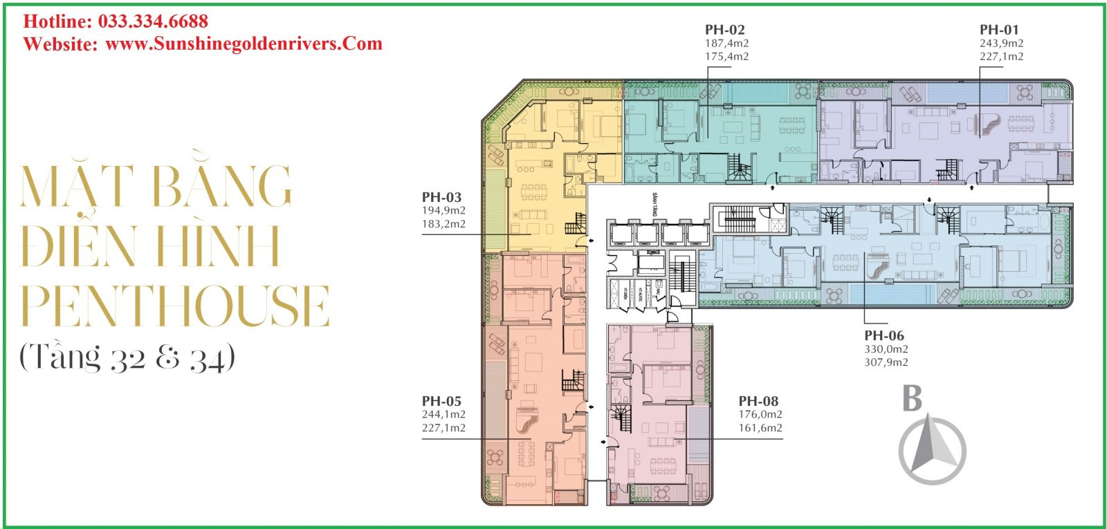 MẶT BẰNG PENTHOUSE TẦNG 32-34 SUNSHINE GOLDEN RIVER