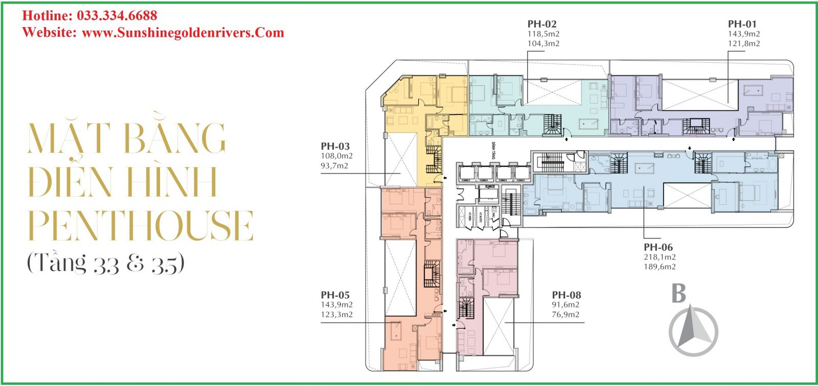 MẶT BẰNG PENTHOUSE TẦNG 33-35 SUNSHINE GOLDEN RIVER